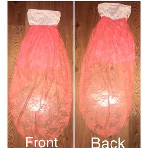 CORAL HIGH LOW SUNDRESS WITH LACE